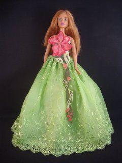 Green Ball Gown with a Pink Flower Motif Made to Fit the Barbie Doll Toys & Games