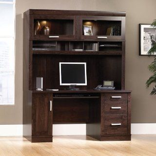 Office Port Dark Alder Computer Credenza with Hutch Dark Alder Finish   Office Desks