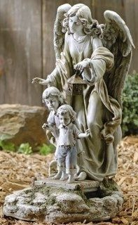 Solar Power Guardian Angel Statue  Outdoor Statues  Patio, Lawn & Garden