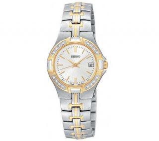 Seiko Ladies Diamond Bezel Two Tone Watch —