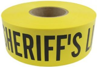 "Presco B31022Y14 658 1000' Length x 3"" Width x 2.5 mil Thick, Polyethylene, Yellow with Black Ink Barricade Tape, Legend ""Sheriffs Line Do Not Cross"" (Pack of 8): Safety Tape: Industrial & Scientific"