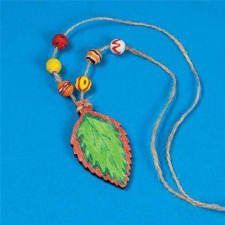 Wood Leaf Necklace Craft Kit (Makes 12): Toys & Games