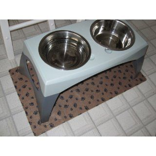 Drymate Large Dog Bowl Place Mat with Paw Imprint Design, 16 Inch by 28 Inch, Tan : Pet Bed Mats : Pet Supplies