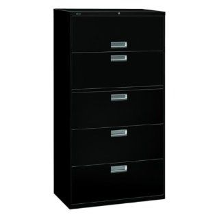 HON 685LP   600 Series Five Drawer Lateral File, 36w x19 1/4d, Black : Lateral File Cabinets : Office Products