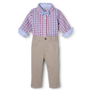 G Cutee Newborn Boys 3 Piece Shirtzie, Pant and Bow Tie   Red Hot 24 M