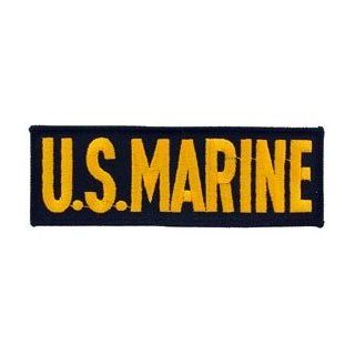 USMC Marine Corps Military Embroidered Iron On Patch   US Marine Gold & Black Name Tab Applique: Clothing