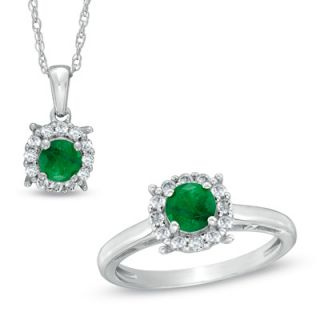 0mm Emerald and Lab Created White Sapphire Frame Ring and Pendant