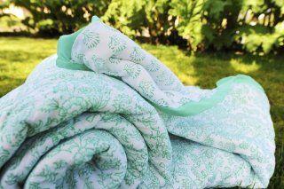 Decorative Handmade Unique Aqua Quilt Comforter (Full/queen)   Turquoise Quilt