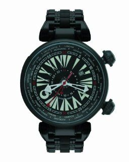 Gio Monaco Men's 701 Geopolis Automatic Black Dial PVD Stainless Steel GMT Watch: Watches