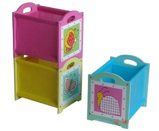 4Gr8 Kidz Pink Series Kids 3 Piece Stackable Wooden Bins: Toys & Games