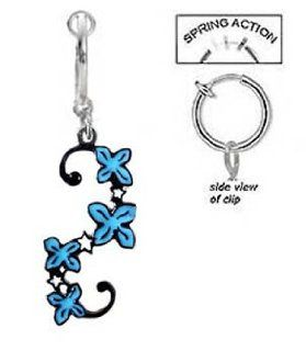 Fake Belly Navel Non Clip on Blue Flower Unique Swirl Vine tattoo like Dangle Ring: Body Piercing Barbells: Jewelry