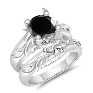 1.24 1.63 Cts Black Diamond Solitaire Engagement & Wedding Ring Set in 14K White Gold 7.0: Jewelry