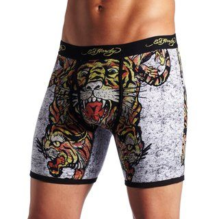 Ed Hardy Mens Black Tiger Collage Premium Boxer Briefs
