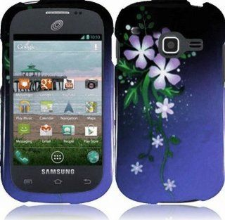 Samsung Galaxy Centura S738C (Straight Talk , Net10 , Tracfone) Phone Case Accessory Purple Moonlight Romantic Flowers Hard Snap On Cover with Free Gift Aplus Pouch Cell Phones & Accessories