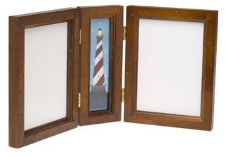 Fetco International Warren Kimble Lighthouse Triptych Frame 4 X 6 Rustic Pine