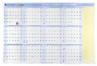 AT A GLANCE QuickNotes Recycled Yearly Erasable Wall Calendar, 24 Inch x 36 Inch, Blue/Yellow, 2012/2013 (PM50SB 28)