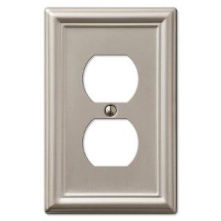 Single Duplex 1 Gang Decora Wall Switch Plate, Brushed Nickel   Brushed Nickel Amerelle Wall Plates