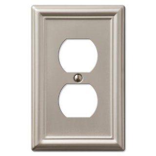Single Duplex 1 Gang Decora Wall Switch Plate, Brushed Nickel   Brushed Nickel Amerelle Wall Plates