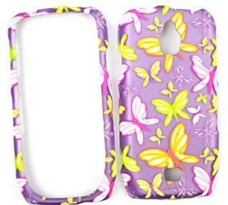 Samsung Exhibit 4G T759 Transparent Design, Butterflies on Purple Hard Case/Cover/Faceplate/Snap On/Housing/Protector: Cell Phones & Accessories