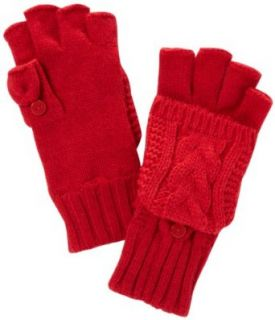 Isotoner Women's Irish Cable Flip Top Glove with Convertible Button Thumb, Really Red, One Size at  Women�s Clothing store: Cold Weather Gloves
