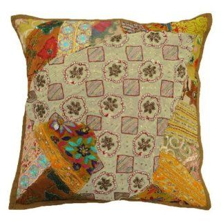 Traditional Multicolor Cushion Case Home Decor Antique Beaded Cotton Pillow Cover India 17' Inches   Throw Pillow Covers