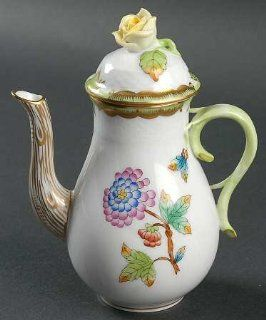 Herend Queen Victoria (Green Border) Individual Coffee Pot & Lid, Fine China Dinnerware: Bowls: Kitchen & Dining