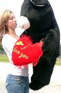 "Giant 42"" Black Teddy Bear Holding I Love You Heart *Huge Soft Stuffed Jumbo Big Plush   Perfect Valentines Day or Any Day Gift   American Made in the USA America: Toys & Games"