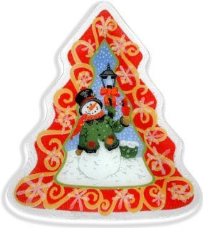 Peggy Karr Glass Handcrafted Tree Shaped Friendly Snowman Art Glass Serving Tray   Decorative Trays