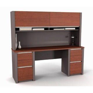 Bestar Connexion Credenza And Hutch Kit In Bordeaux & Slate   Home Office Desks