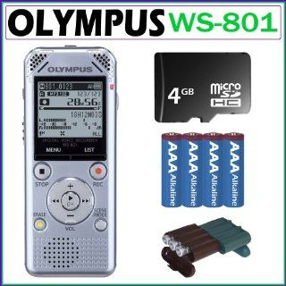 Olympus WS 801 2GB Digital Voice Recorder in Silver + 4GB Micro SDHC + 4 AAA Batteries + Battery Case Electronics