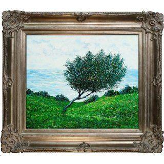Art MON2130 FR 801S20X24 Claude Monet Sea Coast at Trouville with Renaissance Champagne Frame Ash Finish   Oil Paintings