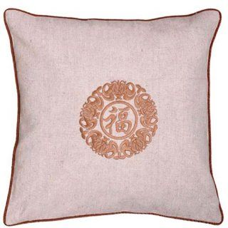 EXP Decorative Handmade Beige Cushion Cover / Pillow Sham   Chinese Fortune & Lotus Flower Symbol   Throw Pillow Covers