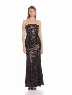 BCBGMAXAZRIA Women's Natasha Applique Chiffon Sequin Cut Out Evening Dress, Black Combo, 0 Dresses