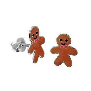 Adorable Gingerbread Man Sterling Silver Childrens Earrings Post/stud: Jewelry