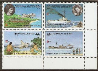 Collectible Marshall Islands Postage Stamps 1987 Last Flight of Amelia Earhart, Block of 4 MNH