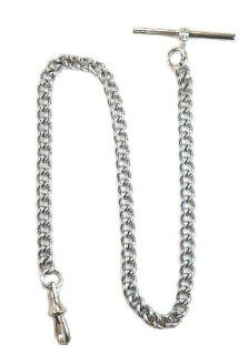 Dueber Chrome Plated Stainless Steel Pocket Watch Chain with T Bar: Watches