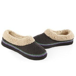 ISOTONER Women's Heathered Fleece Sherpa Trim Skimmer Slippers (6.5 7, Ash): Shoes