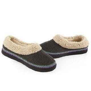 ISOTONER Women's Heathered Fleece Sherpa Trim Skimmer Slippers (6.5 7, Ash): Shoes