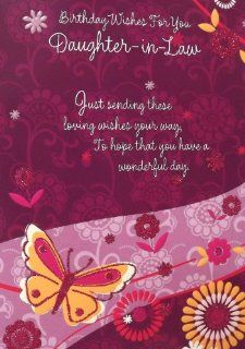 "Ladies Purple & Pink ""Birthday Wishes For You Daughter in Law""Birthday Greetings Card   With Pink Glitter Embossed Butterfly's & Flowers : Birthday Cards From Daughter In Law : Office Products"