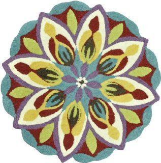 Shop Loloi Rugs GARDHGA01TEIV300R Gardenia Collection Hand Tufted 100 Percent Wool Round Area Rug, 3 Feet by 3 Feet, Teal/Ivory at the  Home D�cor Store. Find the latest styles with the lowest prices from Loloi Rugs