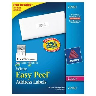"Avery 5160 Easy Peel White Address Labels for Laser Printers, 1"" x 2 5/8"", Box of 3000"