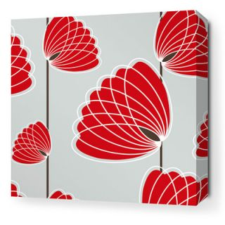 Inhabit Aequorea Lotus Graphic Art on Canvas in Silver and Scarlet LOTSLSCSW