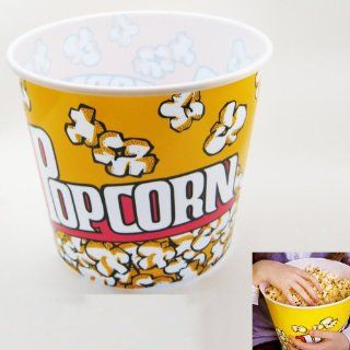 Retro Style Reusable Popcorn Bowl Large Plastic Container Movie Theater Bucket  Officeproducts Kitchen & Dining