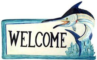 Shop Painted Metal Blue Marlin Nautical Welcome Sign   Fish Decor at the  Home D�cor Store. Find the latest styles with the lowest prices from