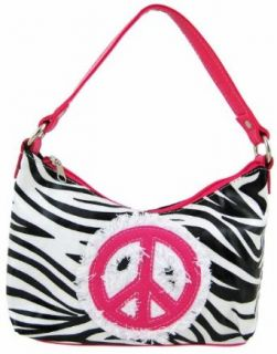Zebra Print Peace Sign Handbag Hot Pink Trim: Top Handle Handbags: Shoes