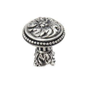 Carpe Diem Hardware 851 11 Acanthus Large Knob with Column Base Rosette Style Satin Knob, 1 7/16  Inch   Cabinet And Furniture Knobs