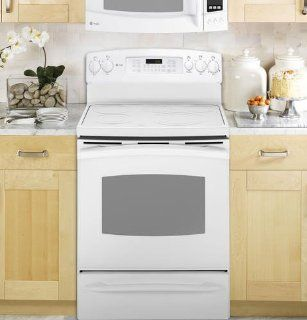 "PB909TPWW Profile 30"" Electric Range with 5 Radiant Elements 5.3 cu. ft. PreciseAir Convection: Appliances"