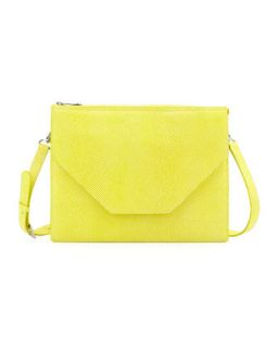 Kirsten Pebbled Crossbody Bag, Lemon   Eric Javits