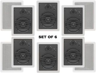 """Yamaha Flush Mount In Wall Natural Sound Custom Easy to install 3 Way 120 watts Speakers (Set of 6) with 1"""" Silk Soft Swivel Dome Tweeter, 2"""" Swivel Midrange & 6.5"""" Cone Woofer for 1 Large Room or Several Smaller Rooms Electronics"""