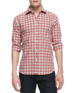Mens Long Sleeve Button Down Plaid Shirt, Burnt Orange/Multicolor   Billy Reid